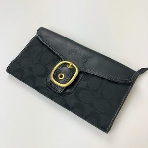 Coach Wallet Black Leather C Monogram Fabric